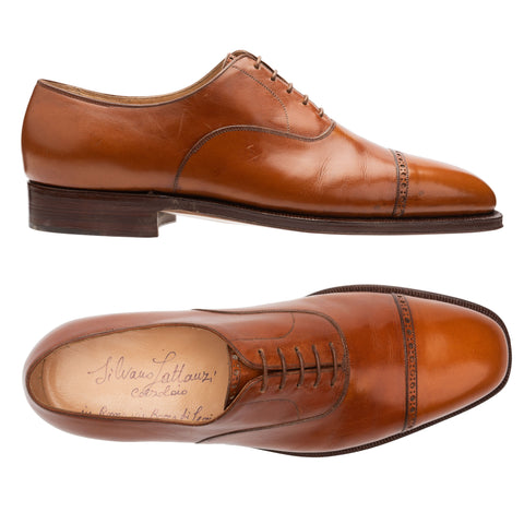 SILVANO LATTANZI Handmade Cognac 5 Eyelet Cap Toe Oxford Dress Shoes NEW US 9.5
