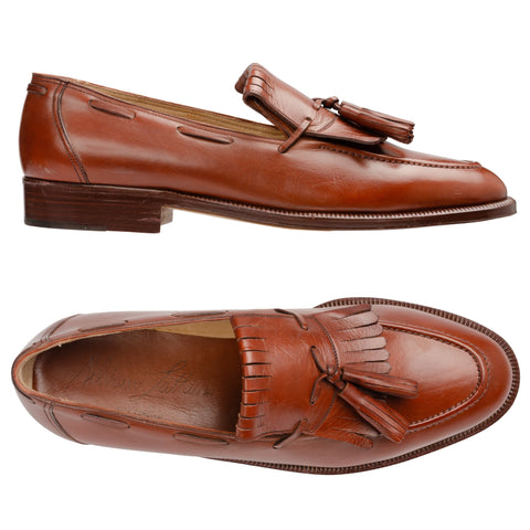 SILVANO LATTANZI Handmade Cognac Leather Kilties Tassel Loafer Shoes NEW US 8