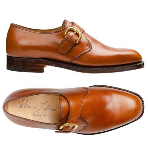 SILVANO LATTANZI Handmade Cognac Leather Single Monk Dress Shoes NEW US 7.5