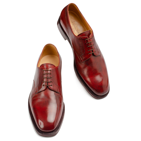 SILVANO LATTANZI Handmade Red Leather 5 Eyelet Derby Dress Shoes NEW US 10.5