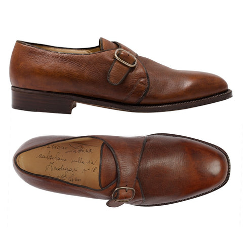 "SILVANO LATTANZI ""PANTOFOLA"" Handmade Chestnut Monk-Strap Dress Shoes NEW 8.5"