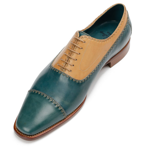 "SILVANO LATTANZI ""Varen"" Hand-Stitched Blue-Tan Leather Oxford Shoes NEW 9.5"