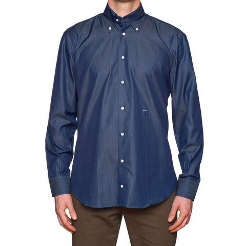 SIMONE ABBARCHI Firenze Bespoke Blue Denim Button-Down Slim Shirt NEW US 16