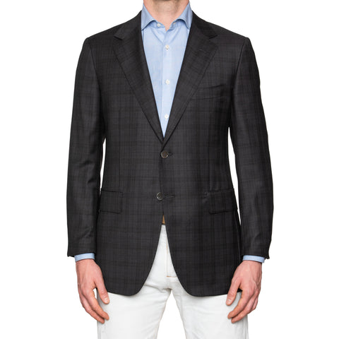 Sartoria PARTENOPEA Gray Prince of Wales Wool Super 150's Jacket EU 52 NEW US 42