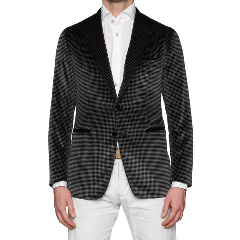 Sartoria PARTENOPEA Hand Made Black Cotton-Mohair Velvet Jacket EU 50 NEW US 40
