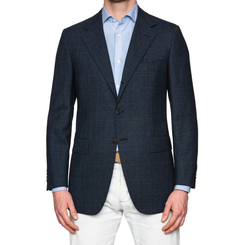 Sartoria PARTENOPEA Hand Made Blue Windowpane Wool Blazer Jacket EU 50 NEW US 40