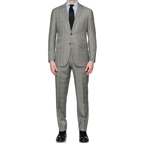 Sartoria PARTENOPEA Hand Made Gray Plaid Suit EU 52 NEW US 42
