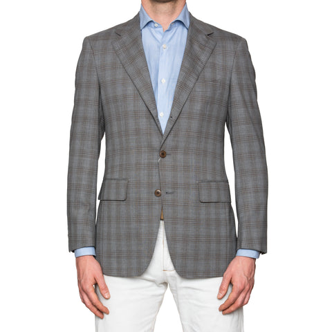 Sartoria PARTENOPEA Hand Made Gray Plaid Wool Blazer Jacket EU 48 NEW US 38
