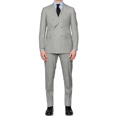 Sartoria PARTENOPEA Hand Made Gray Wool Double Breasted Suit NEW