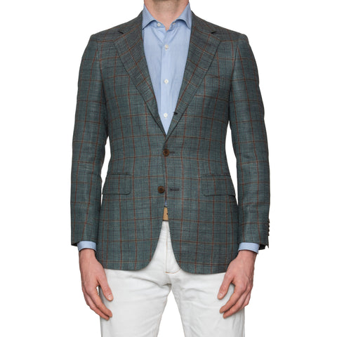 Sartoria PARTENOPEA Hand Made Green Plaid Wool Silk Linen Blazer Jacket NEW