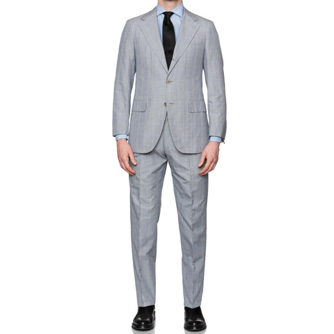 Sartoria PARTENOPEA Hand Made Light Blue Plaid Cotton Suit EU 48 NEW US 38