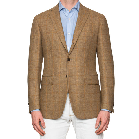 Sartoria PARTENOPEA Hand Made Sand Herringbone Wool Flannel Jacket 50 NEW US 40