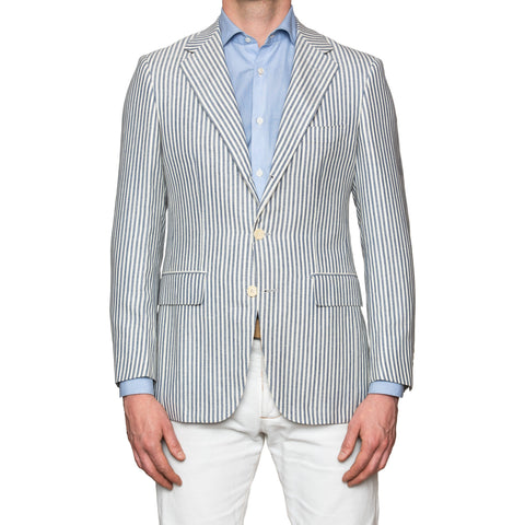 Sartoria PARTENOPEA Hand Made White-Blue Striped Wool-Linen Jacket Sports Coat