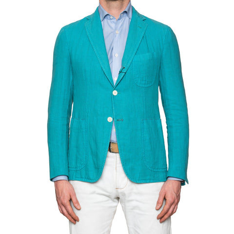 Sartoria PARTENOPEA Hand Made & Washed Turquoise Linen Blazer Jacket 48 NEW 38