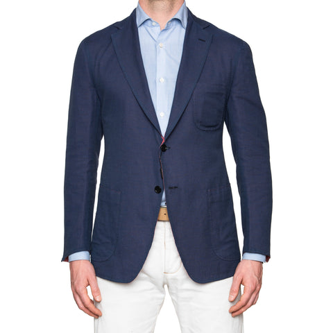 Sartoria PARTENOPEA Handmade Blue Cotton-Linen Unconstructed Jacket 50 NEW 40