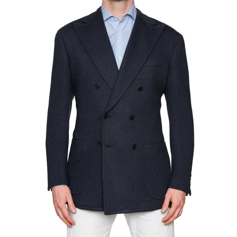 Sartoria PARTENOPEA Handmade Blue Herringbone Wool DB Blazer Jacket 50 NEW US 40