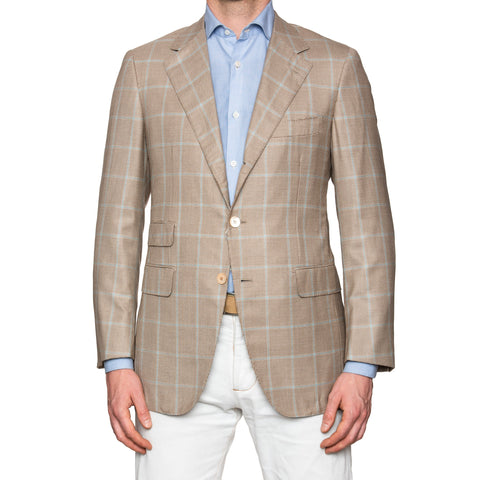Sartoria PARTENOPEA Handmade Brown Houndstooth Wool-Silk Blazer Jacket 50 NEW 40