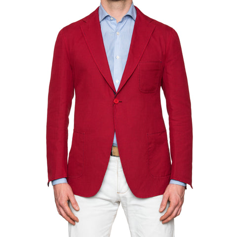Sartoria PARTENOPEA Red Cotton Linen Unconstructed Summer Blazer Jacket NEW