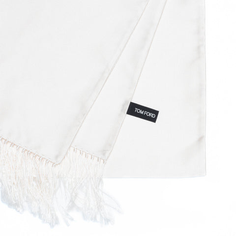 TOM FORD Made in Italy Solid Cream Silk Evening Scarf with Tassels