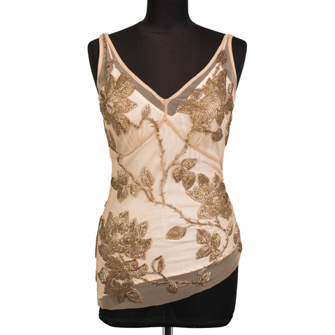 TRACY REESE Gold Floral Beaded Top with Silk Lining NEW US 4