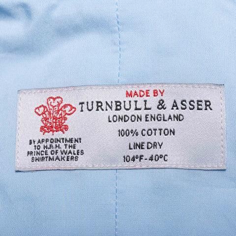 TURNBULL & ASSER Bespoke Solid Blue Poplin Cotton French Cuff Shirt NEW US 15.75