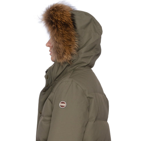 COLMAR Olive Down-Feather Fur Trimmed Hooded Parka Jacket Coat US L NEW EU 52