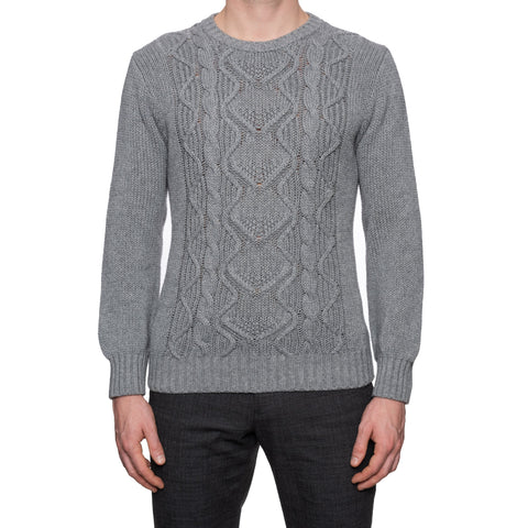 ANDERSON & SHEPPARD Gray Cotton-Cashmere-Silk Cable Knit Sweater NEW M