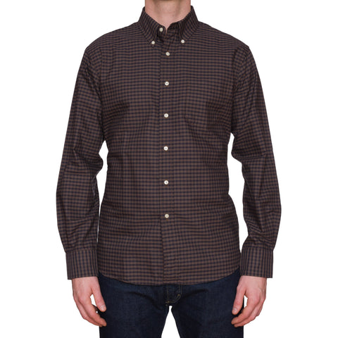 UNIONMADE Brown Gingham Check Cotton Button-Down Casual Shirt NEW US L