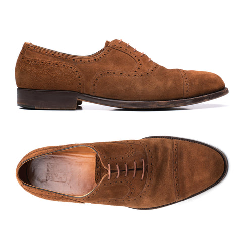 "VASS Budapest Brown Suede Leather ""Old English"" Oxford Shoes EU 43.5 US 10.5"