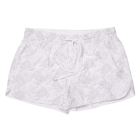 VILEBREQUIN Fanya White Silver Turtle Embroidered Womens Swim Shorty Trunks NEW
