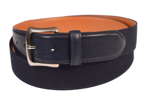 "KITON Handmade Blue Canvas-Calf Leather Casual Belt 115 cm 46"" NEW With Box - SARTORIALE - 2"