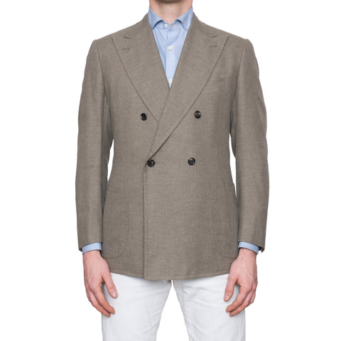 CESARE ATTOLINI for M Bardelli Bespoke Taupe Cotton Wool DB Jacket EU 50 US 40