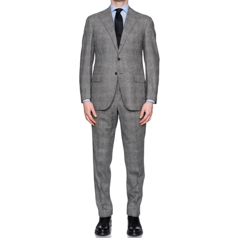 CESARE ATTOLINI Napoli Gray Glen Plaid Wool-Cashmere Flannel Suit 50 NEW US 40