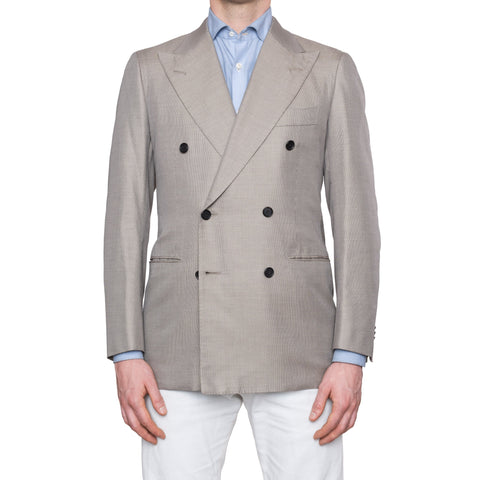 CESARE ATTOLINI Napoli Gray Cotton Silk Double Breasted Blazer Jacket NEW