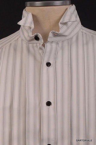 Les Hommes White Cotton Short Sleeve Shirt  NEW EU 46 Slim Fit French Cuff - SARTORIALE - 2