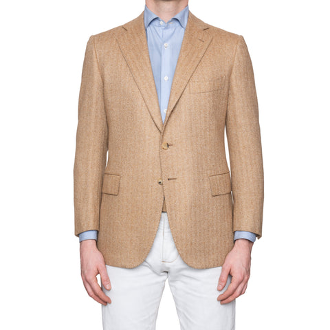 CESARE ATTOLINI Napoli Hand Made Tan Herringbone Cashmere Jacket 58 NEW US 48