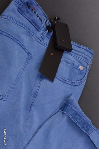 KITON Napoli Blue Slim Fit Lyocell Jeans Stretch Pants 5 Pockets US 30 NEW - SARTORIALE - 2