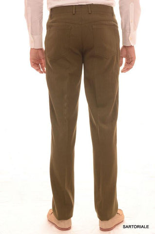 RUBINACCI Napoli Solid Olive Wool Jeans Pants Straight Classic Fit NEW - SARTORIALE - 2