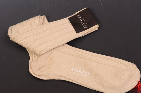 BRESCIANI For BESPOKE ATHENS Solid Beige Cotton Knee High Socks NEW - SARTORIALE