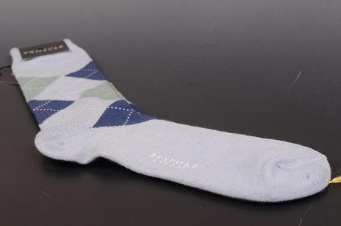 BRESCIANI For BESPOKE ATHENS Blue Argyle Wool Socks 10.5-12 NEW Size L - SARTORIALE - 1