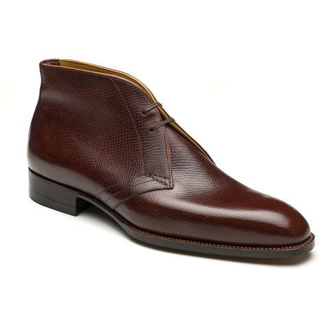 "PASSUS SHOES ""Oliver"" Dark Brown Hatch Grain Leather Chukka Boots"