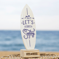 Tablita de surf 24 x 8 cm Let's go surfing blanco azul