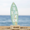 Tablita de surf 24 x 8 cm The ocean is my home azul blanco