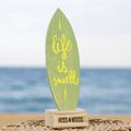 Tablita de surf 24 x 8 cm Life is swell verde amarillo