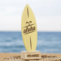 Tablita de surf 24 x 8 cm Aloha amarillo marrón