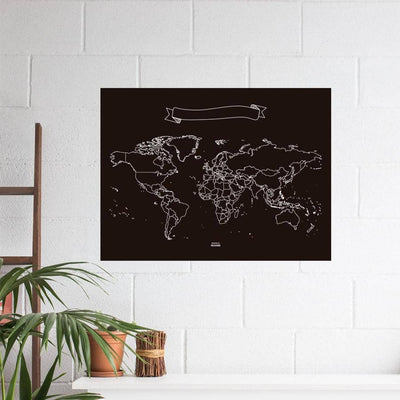 Woody Map Chalkboard Maps misswood 90 x 60 cm