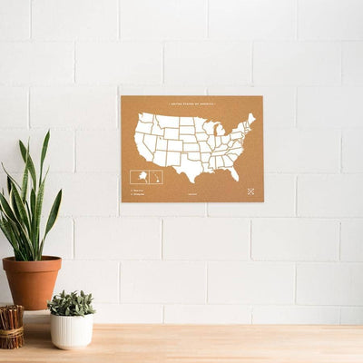 Woody Map Natural EE.UU. Maps misswood 60 x 45 cm Blanco Sin marco