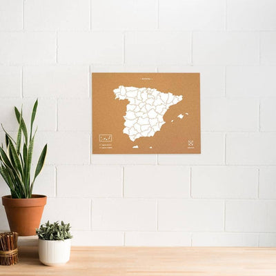 Woody Map Natural España Maps misswood 60 x 45 cm Blanco Sin Marco