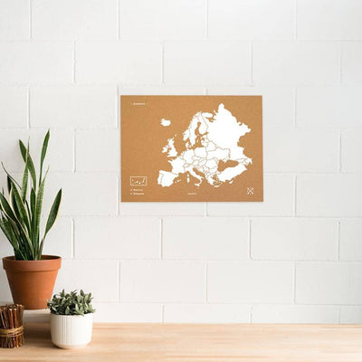 Woody Map Natural Europa Misswood Blanco 60x45 cm Sin marco