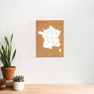 Woody Map Natural Francia Misswood Blanco 60x45 cm Sin marco